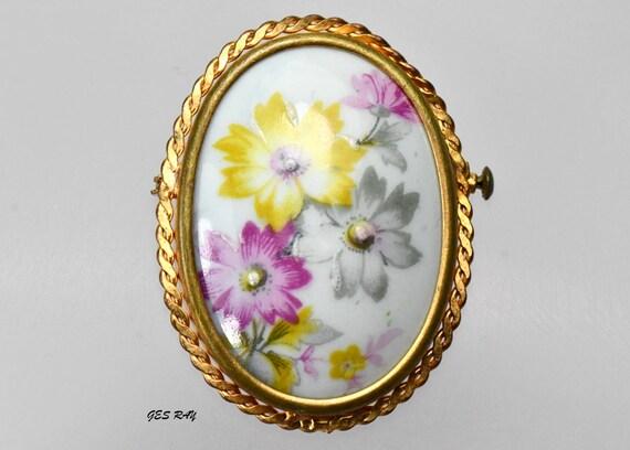 Antique FRANCE Limoges Brooch Pin Signed Porcelain