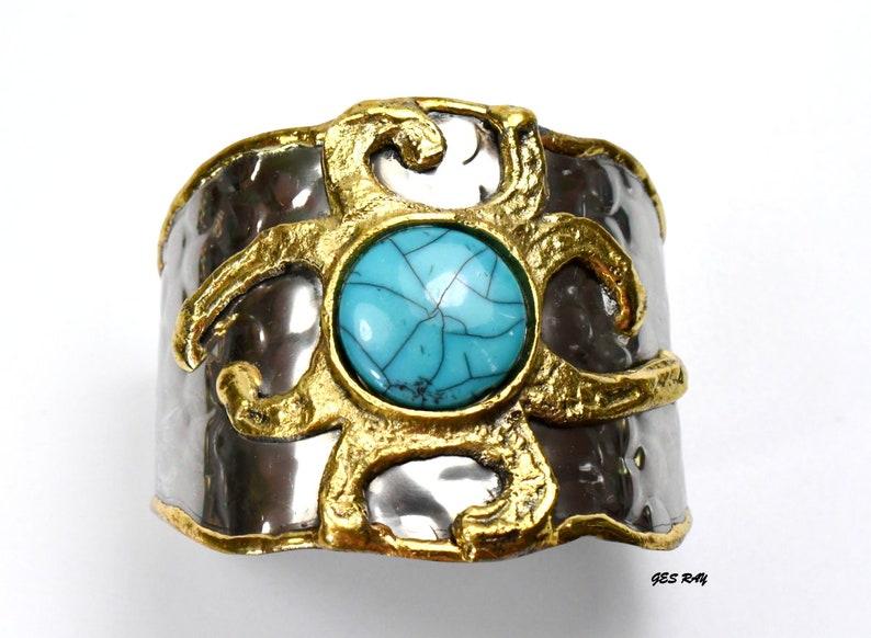Modernist Cuff Bracelet Brutalist Bracelet  Silver Brass Bracelet Wide Cuff Bangle