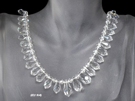 Vintage Graduated Crystal Tear Drop Necklace Antiq