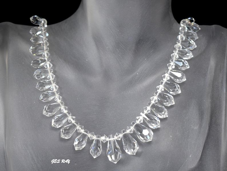 Vintage Graduated Crystal Tear Drop Necklace Antique Crystal Necklace Art Deco