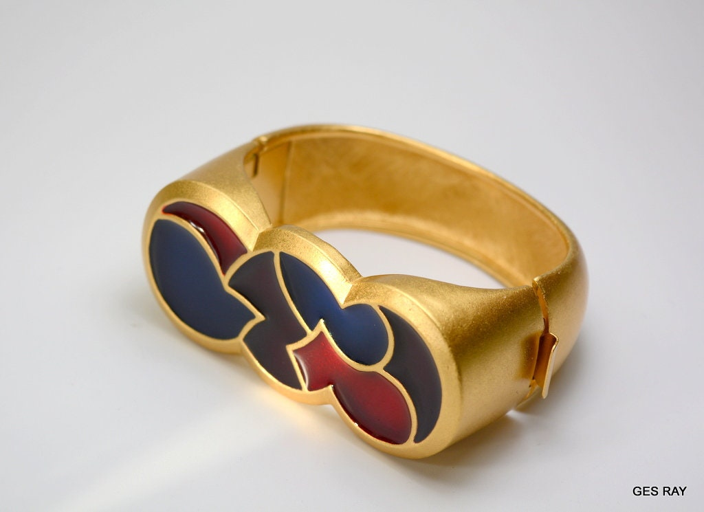 13d2deb4ef MONET for YSL Yves Saint Laurent Couture Gold Enamel Bracelet Cuff Book  Piece