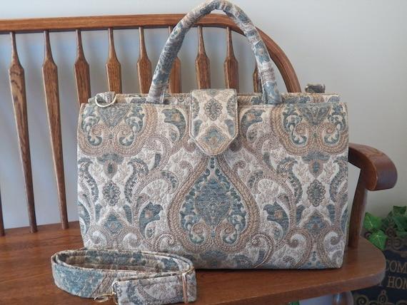 Blue Damask Pattern Weekender Bag
