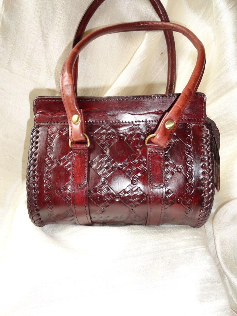 0d53c6a73ba Indian Leather Handbag. Oak burgundy or reddish brown