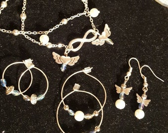 SPECIAL 7.00 handmade jewelery set. Bracelet and set of 3 silver hoops
