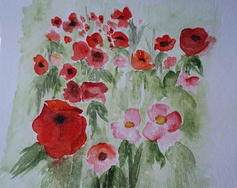 Watercolor Poppy Painting
