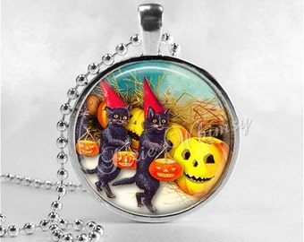 vintage halloween necklace jack o lantern jol marching black cats pumpkin victorian halloween glass art necklace halloween jewelry