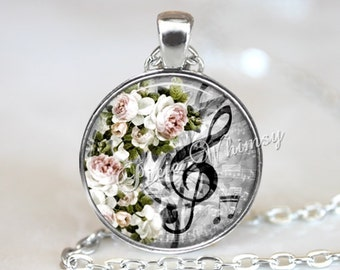 MUSIC Pendant Necklace Keychain TREBLE CLEF Jewelry G Clef, G Clef  Necklace, Musician Teacher Gift, Pink Shabby Roses, Vintage Sheet Music
