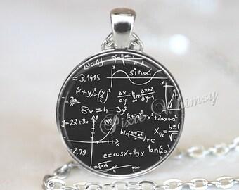 MATH EQUATIONS Necklace Pendant or Keychain Mathematician Geometry Algebra Formula Quantum Physics Science Geek Math Jewelry Math Teacher