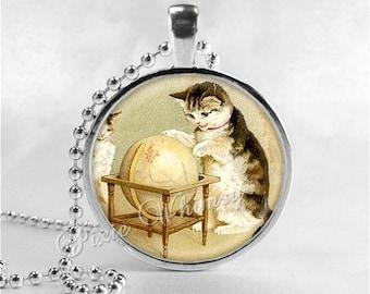 VINTAGE GLOBE Necklace, Vintage Globe Pendant, Vintage World Map, Cat Necklace, Vintage Map Necklace, Vintage Globe, Travel Necklace