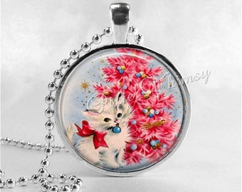 CHRISTMAS CAT Necklace, Kitten Necklace, Cat Pendant, Cat Jewelry, Cat Charm, Glass Photo Art Necklace Pendant, Christmas Jewelry, Pink Tree