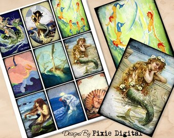 MERMAIDS Digital Collage Sheet Download Printable Clipart Gift Hang Tag Journal Cards ATC Scrapbooking Sea Nymph Sirens