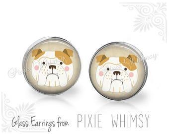 BULLDOG Earrings, Bulldog Stud Earrings, Bull Dog Post Earrings, English Bulldog Art Earrings, Stud Post Earrings, Pierced Earrings