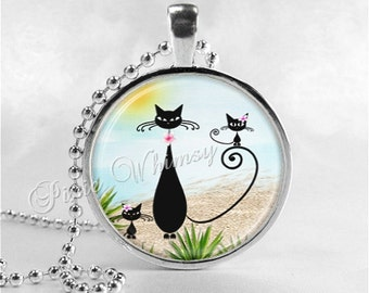 CAT Necklace, Kitten Necklace, Cat and Kitten, Cat Pendant, Cat Jewelry, Cat Charm, Glass Photo Art Necklace Pendant, Cat Silhouette