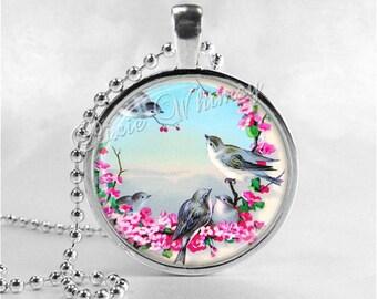 Bluebird Necklace Pendant Art Jewelry with Ball Chain, Bird Necklace, Blue Bird, Flower Necklace