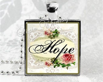 HOPE INSPIRATIONAL WORD Square Glass Bezel Pendant Necklace with 24 Inch Necklace Chain