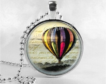HOT AIR BALLOON Necklace, Hot Air Balloon Pendant, Hot Air Balloon Jewelry, Glass Photo Art Pendant Charm Jewelry, Travel Jewelry