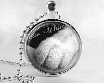 CAT PAW Necklace, Cat Necklace, Glass Photo Art Necklace, Cat Jewelry, Cat Pendant, Kitten Necklace, Cat Charm