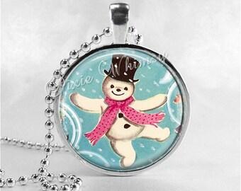 VINTAGE CHRISTMAS SNOWMAN Necklace, Snowman, Vintage Christmas Necklace, Christmas Jewelry, Christmas Pendant, Kitsch, Retro Christmas