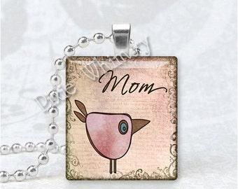MOM Pendant, Mother Pendant, Bird, Scrabble Tile Art Pendant Charm Jewelry