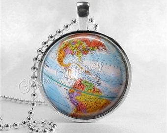 VINTAGE GLOBE Necklace, Vintage Globe Pendant, Vintage World Map, Planet Earth, Vintage Map Necklace, Vintage Globe, Travel Jewelry