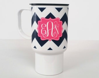 Personalized Travel Coffee Mug • Monogram Coffee Tumbler - Design Your Own