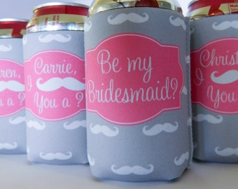 Personalized I mustache you a question, be my bridesmaid custom cooler moustache coolie