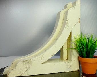 Antique Wooden Corbels Shelf Bracket Architectural Salvage Reclaimed Chippy Distressed Paint White Primitive Farmhouse Decor