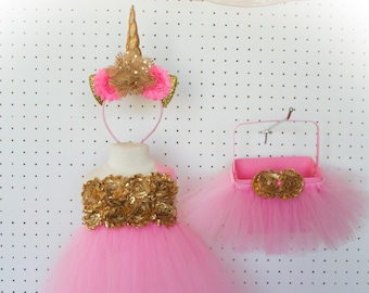 One shoulder shabby top dress, unicorn headband & optional basket  - Pink and Gold