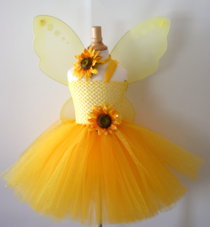 Baby Girls Yellow Sunflower Glitter Tutu Dress With Wings Infant