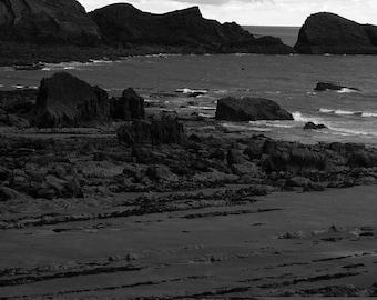 welcombe mouth beach, bideford, uk