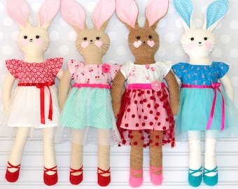 Doll Pattern, Toy Pattern, Rabbit Pattern, Rag Doll Pattern, Softie Pattern, Sewing patterns for soft toys, PDF Pattern, RACHEL RABBIT