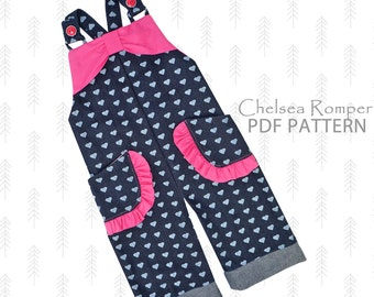 Romper pattern, sunsuit pattern, baby sewing pattern pdf, baby girls sewing pattern, toddler pattern, infant newborn pattern overall CHELSEA