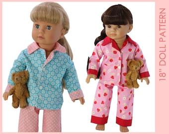 18 inch doll clothes patterns, Doll Pajama Pattern, Doll Patterns, Doll clothes patterns, 18 inch doll pattern, DOLL PAJAMAS