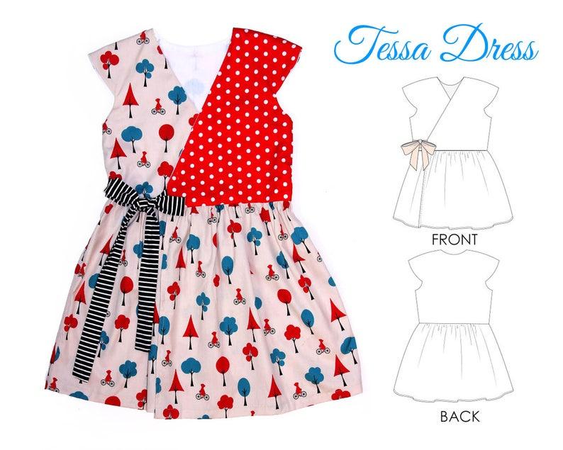 Girls Dress pattern pdf, Wrap Dress Pattern, Childrens Sewing Pattern,  Dress Sewing Pattern, Sewing Pattern for Kids, TESSA DRESS