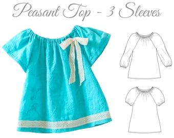 VERY EASY Girls top pattern pdf, girls sewing pattern pdf, peasant top pattern, NATALIE girls