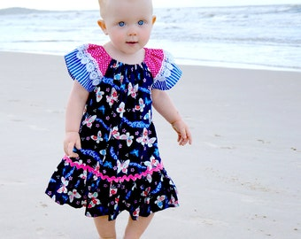 Baby sewing pattern PDF, baby girls dress pattern, peasant dress pattern, toddler pattern, baby dress pattern, baby pattern CAROUSEL