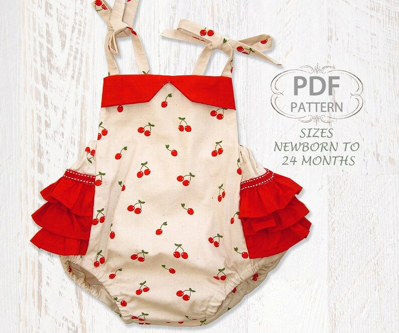0752b2e9a95b PDF Sewing pattern for romper sunsuit Baby sewing pattern for