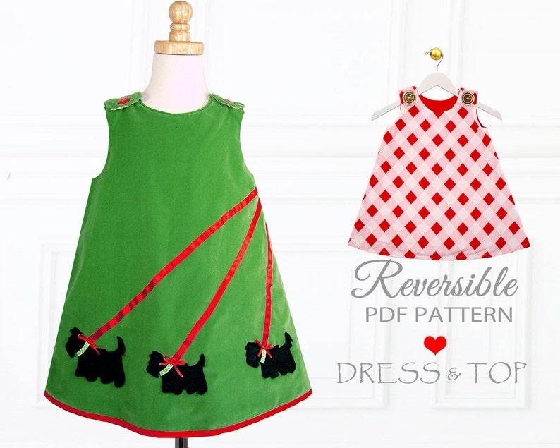 dd43ffc9e84e Reversible Dress Pattern Childrens Sewing Pattern PDF Girls