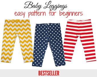 Baby leggings pattern pdf, baby sewing pattern, baby pants pattern, leggings pattern, girls sewing pattern, toddler pattern, BABY LEGGINGS