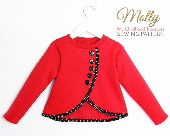 Girls Sweatshirt Sewing Pattern Pdf Sweater Pattern Top Patterns Stretch Pattern Sweatshirt Pattern Girls Sweater Pattern Molly