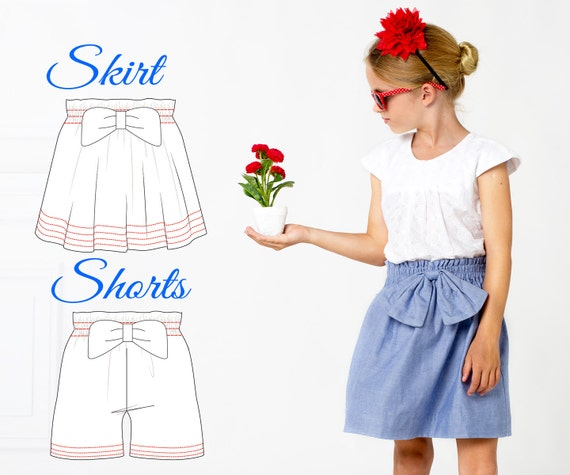 EASY Girls Skirt Pattern Shorts Pattern High Waisted Shorts Etsy Beauteous High Waisted Shorts Pattern