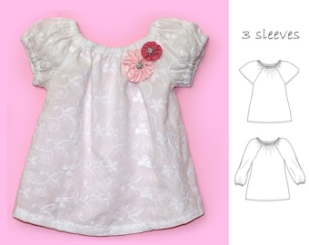 VERY EASY baby sewing pattern, pdf patterns, Baby peasant top pattern, toddler patterns, baby patterns, baby sewing patterns, NATALIE baby
