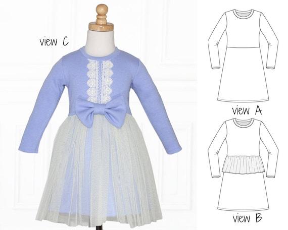 Girls Dress Patterns Pdf Stretch Dress Patterns Knit Dress Etsy