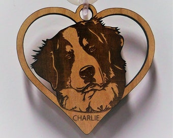 Bernese Mountain dog, Bernese Mountain dog Gift, Dog Gift, Dog heart Ornament, Mothers Day Gift, Custom Dog Ornament, Personalized Ornament