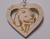 Retriever, double sided ornament, Retriever Gift, Dog heart Ornament, Mothers Day Gift, Custom Dog Ornament, Personalized Ornament