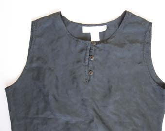 Black Silk Sleeveless Three Button Light Top