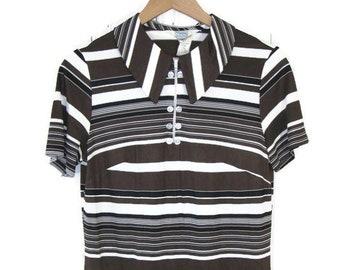 Vintage Retro Brown Jumper Dress 70s Striped Mini Dress