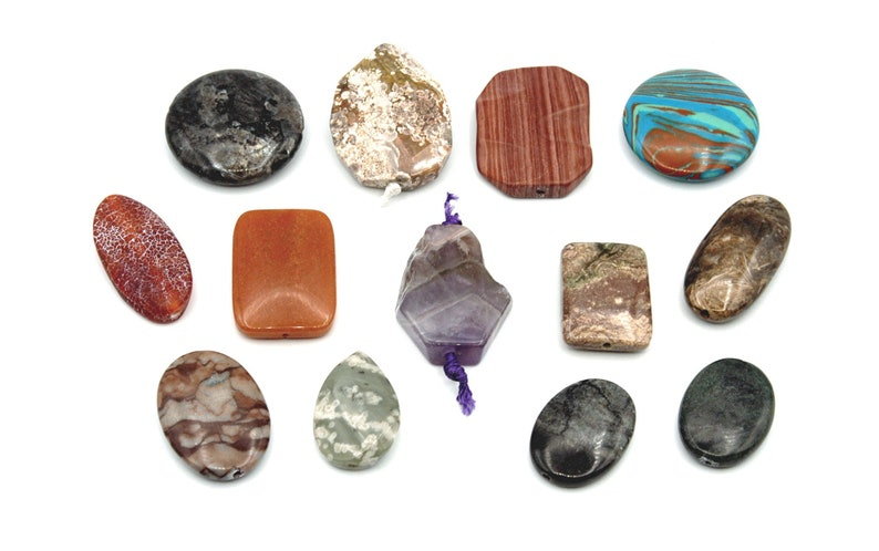 13 Pendant Focal Beads Large Assorted Mix Stone Quality Bulk Lot 20 x 43mm Jasper Semi-precious Amethyst Larvikite.. Aventurine Agate