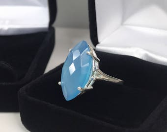 GENUINE 6.5ct Marquise Cut Turquoise Blue Chalcedony Ring Sterling Silver Size 6 7 8 9 Trending Jewelry Gift Mom Wife Daughter Bridal