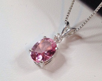 Gorgeous Pink Topaz and Silver Pendant and Sterling Silver Necklace